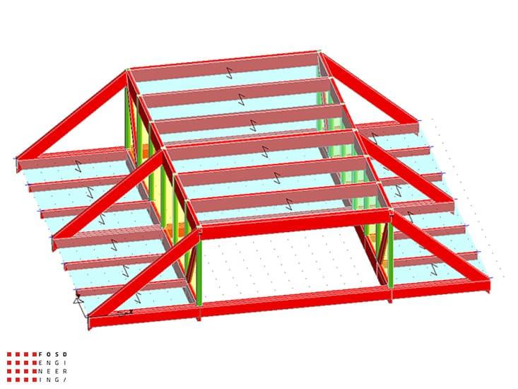Fosd Engeneering Ingegneria Legno Calcolo Strutturale Progettazione Progetti 2013 Struttura reticolare di copertura Genova (1)
