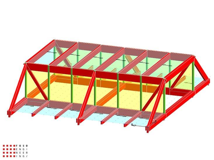 Fosd Engeneering Ingegneria Legno Calcolo Strutturale Progettazione Progetti 2013 Struttura reticolare di copertura Genova (2)